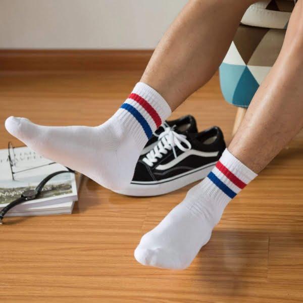 Çizgili Beyaz Kısa Çorap