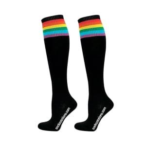 Diz altı gökkuşağı siyah çorap