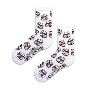 Nutella desenli beyaz çorap