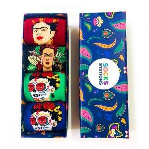 4'lü Frida Kahlo Desenli Renkli Özel Tasarım Çorap Kutusu