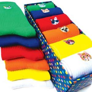 6'lı Kedi Nakışlı Renkli Çorap Kutusu