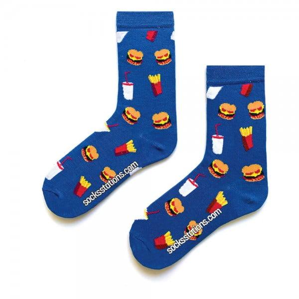 Mavi Hamburger Desenli Tasarım Çorap