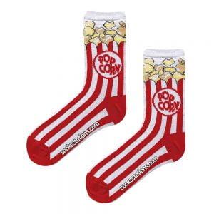 Pop Corn Kırmızı Beyaz Tasarım Çorap