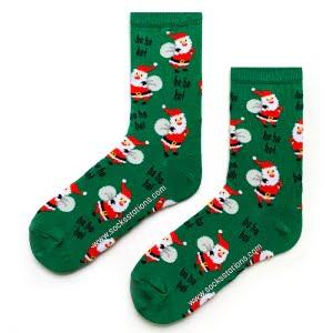 Yeşil Noel Baba Özel Tasarım Çorap