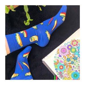 socks-stations-renkli-çorap-taco-desenli-mavi