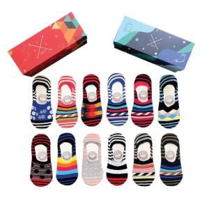 12'li renkli çizgili babet çorap kutusu