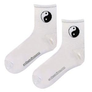 Tenis yin yang beyaz çorap