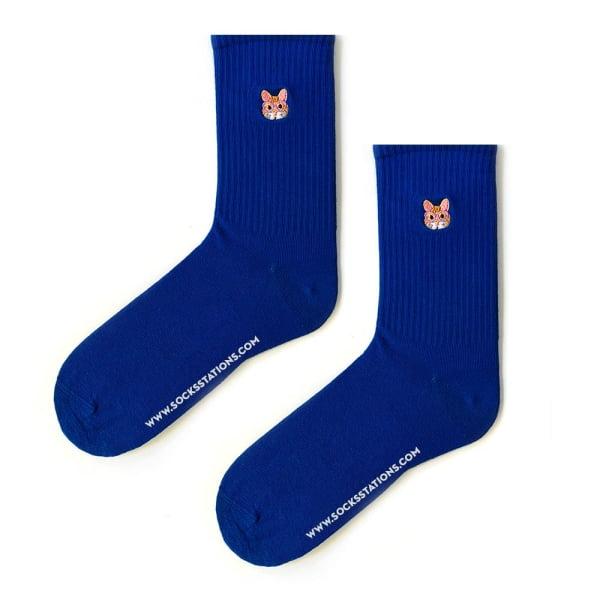 Mavi Kedili Nakış Çorap