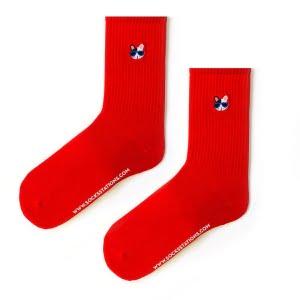 Kırmızı Kedili Nakış Çorap