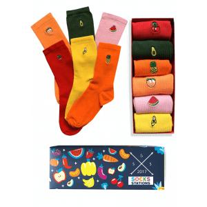 6'lı meyveli nakışlı çorap kutusu