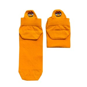 Turuncu Renkli Susam Sokağı Karakterli Nakışlı Patik Çorap