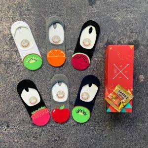 6'lı meyve desenli babet çorap kutusu