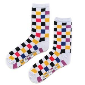 Renkli damalı çorap