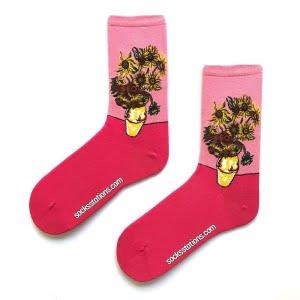 sarı çiçekli pembe çorap