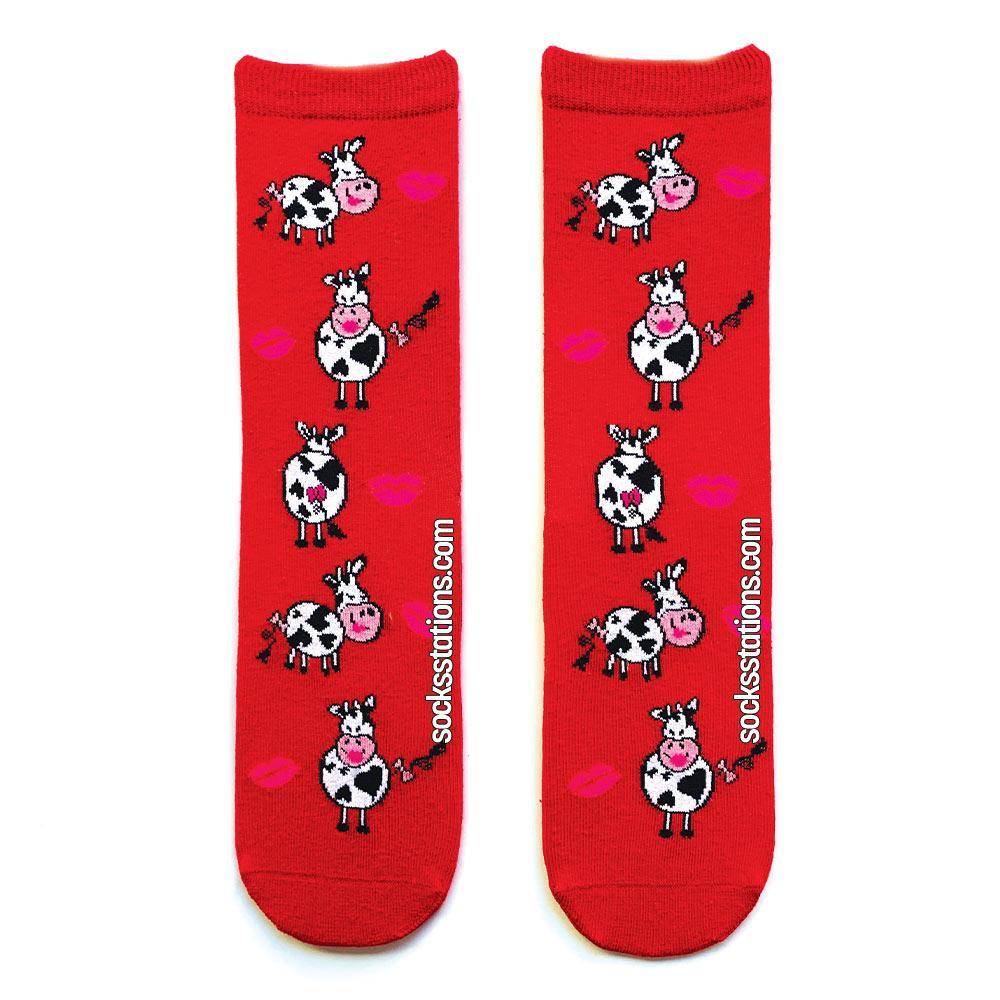 İnek öpücük kırmızı çorap