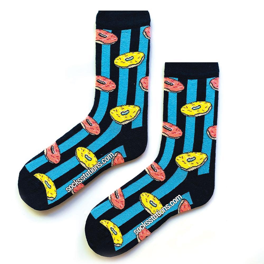 donut mavi lacivert çizgili çorap
