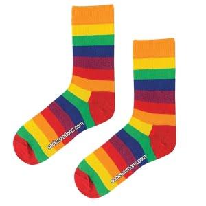 Renkli çizgili desenli çorap