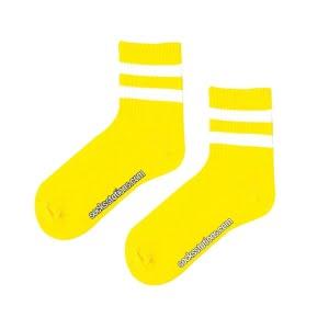 Teniz çift çizgi sarı çorap