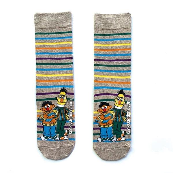 Edi-Büdü Çizgili Gri Çorap