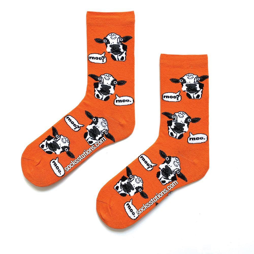 Turuncu inek desenli renkli çorap