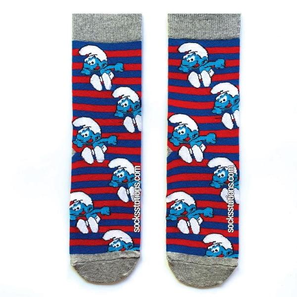 Şirinler Çizgili Çorap