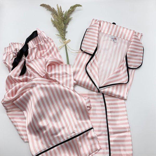 Çizgili uzun pijama takımı