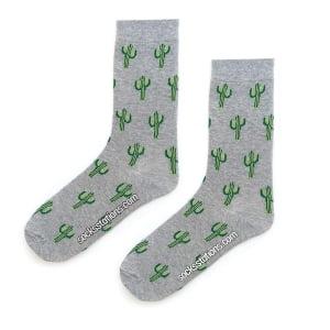 Kaktüs Desenli Gri Çorap