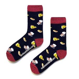 (43-47) Erkek Lacivert Pizzalı Renkli Desenli Çorap