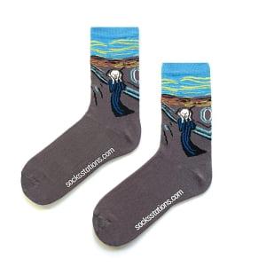 Çığlık Tablosu Gri Çorap
