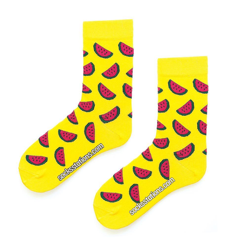 Karpuz desenli sarı çorap