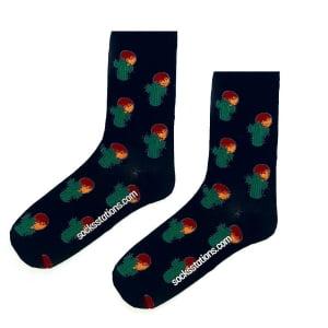 Çöl Kaktüsü Siyah Çorap