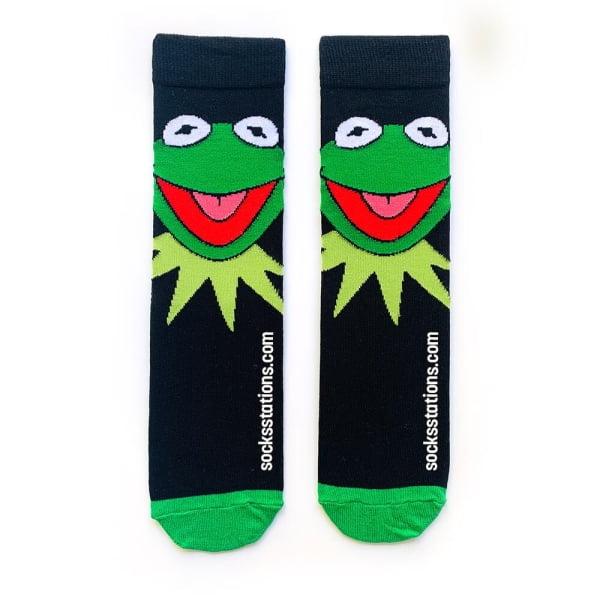 Siyah Kermit Desenli Çorap