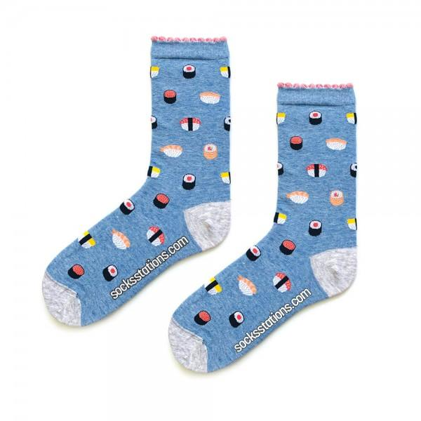 Mavi Sushi Desenli Çorap