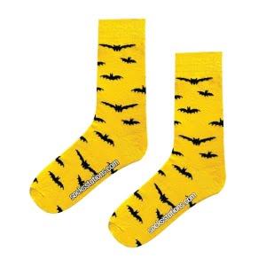 (42-46) Erkek Yarasa Desenli Sarı Men Çorap