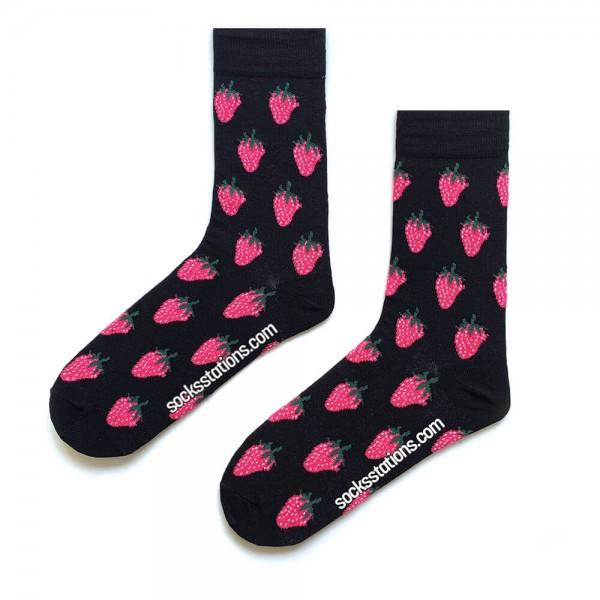 (42-46) Erkek Siyah Çilek Desenli Çorap