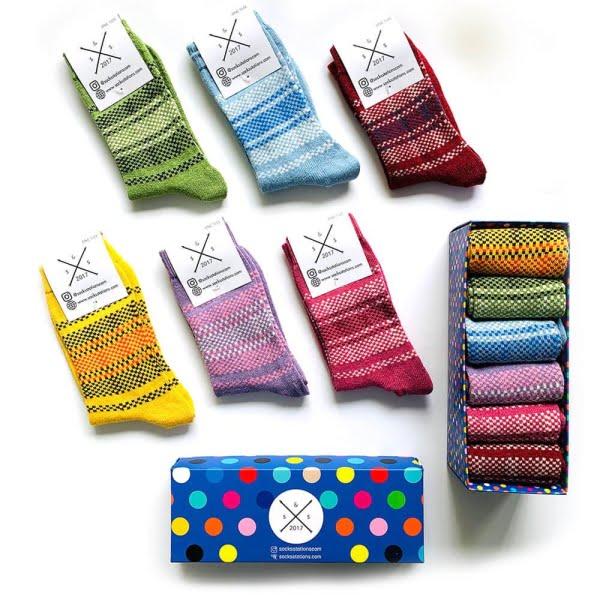 6'lı Yünlü Renkli Desenli Özel Çorap Kutusu