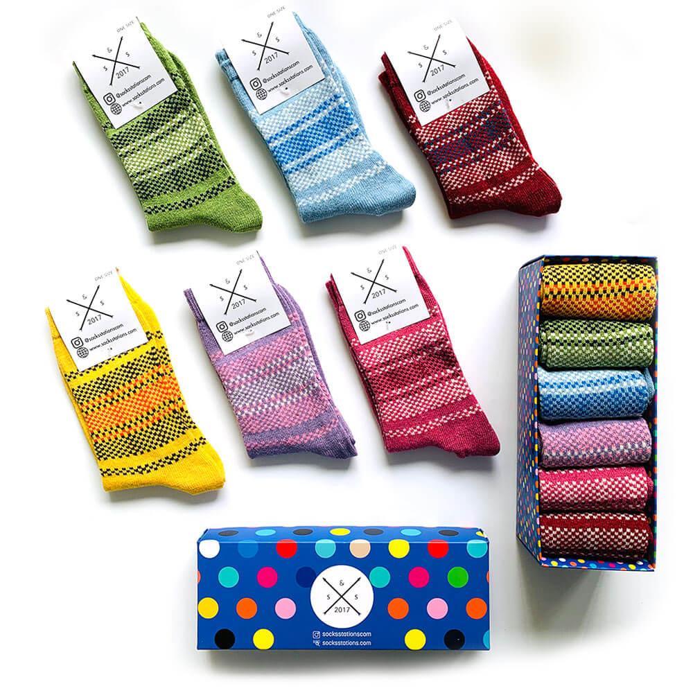 6'lı yünlü renkli desenli çorap kutusu