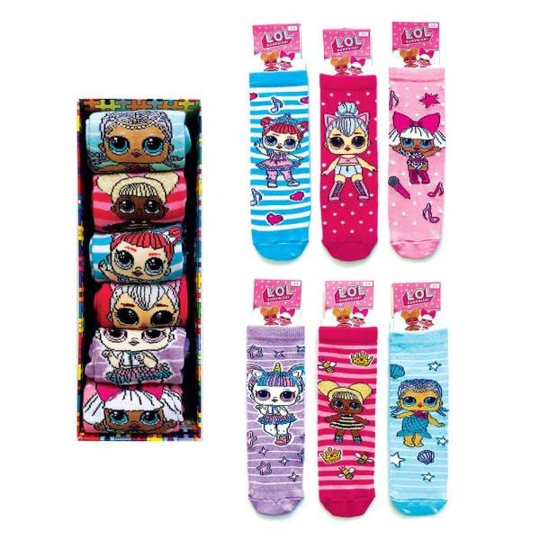 6'lı LOL Çizgili Çocuk Çorap Kutusu
