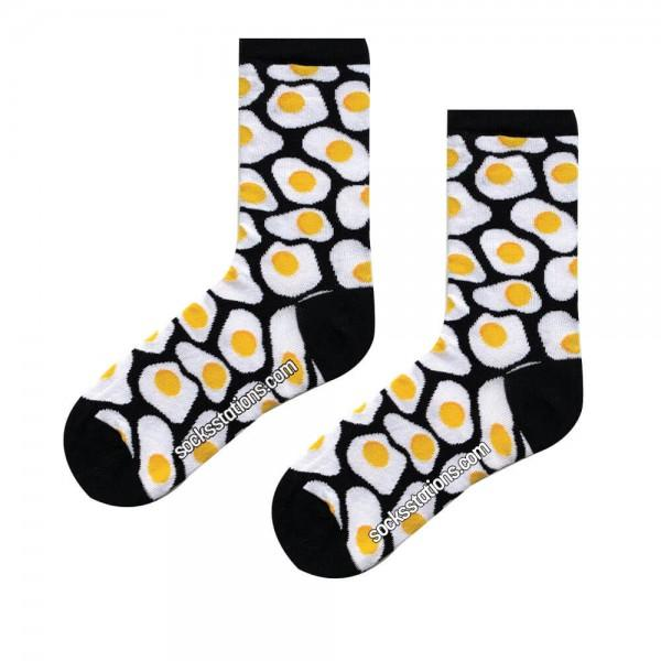 Siyah Yumurta Desenli Çorap