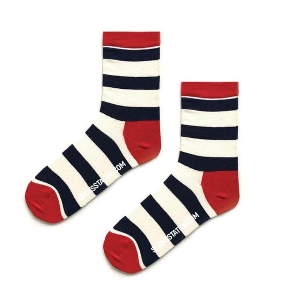Beyaz Büyük Çizgili Çorap