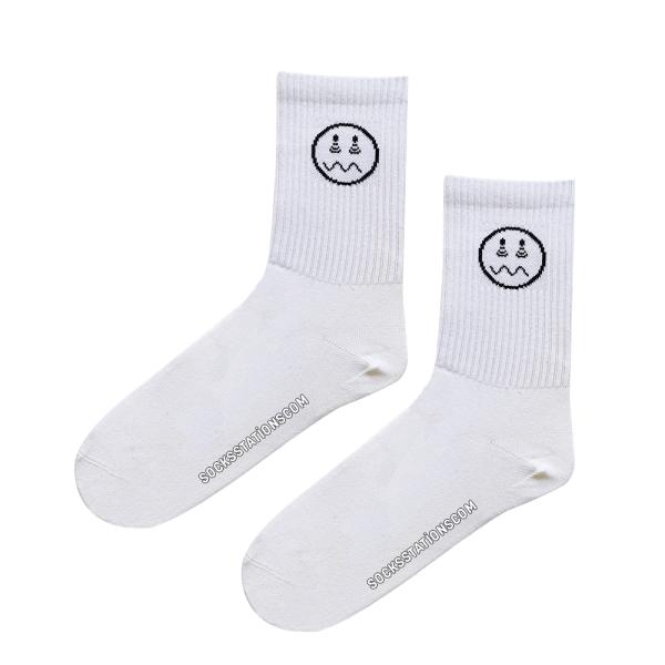 (43-47) Erkek Emoji Desenli Beyaz Çorap