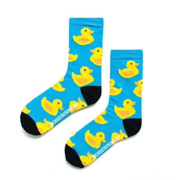 Ördek Desenli Mavi Çorap