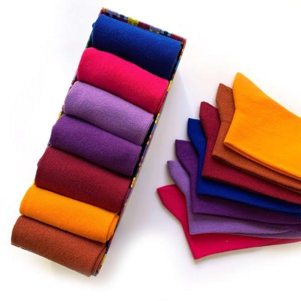 7'li Pastel Renkler Çorap Kutusu