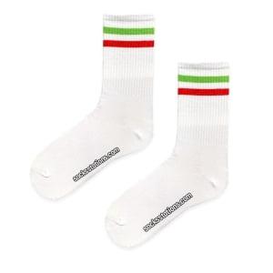 Beyaz Kırmızı Yeşil Desenli Çorap