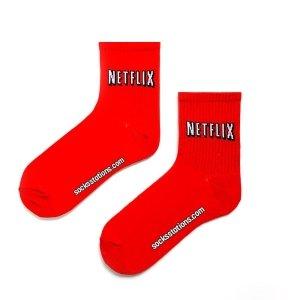 Kırmızı Tenis Netflix Desenli Corap