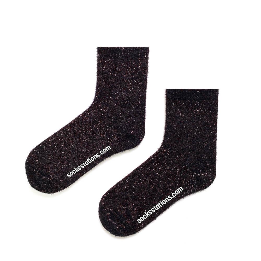 Siyah simli peluj çorap