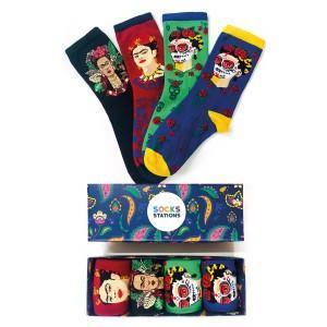 4'lü Frida Kahlo Desenli Renkli Sanatsal Çorap Kutusu