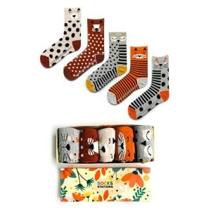 5'li Hayvan Suratları Desenli Çorap