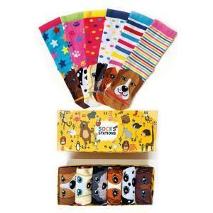 6'lı Geometrik Köpek Renkli Çorap Kutusu