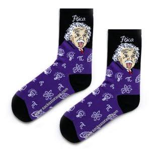 Mor Eistein Desenli Çorap